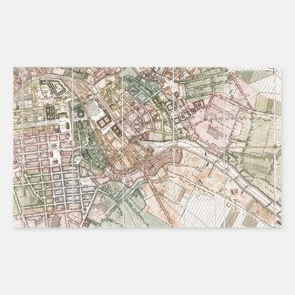 Mapa del vintage de Berlín (1811) Rectangular Pegatina