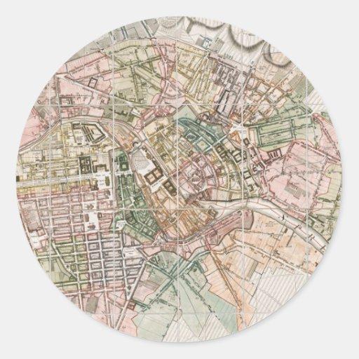 Mapa del vintage de Berlín (1811) Pegatina Redonda