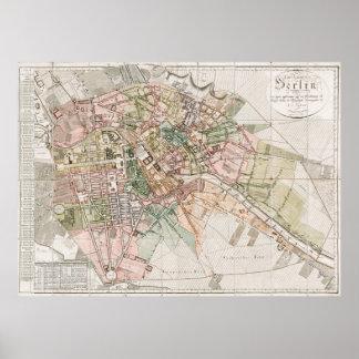 Mapa del vintage de Berlín (1811) Póster