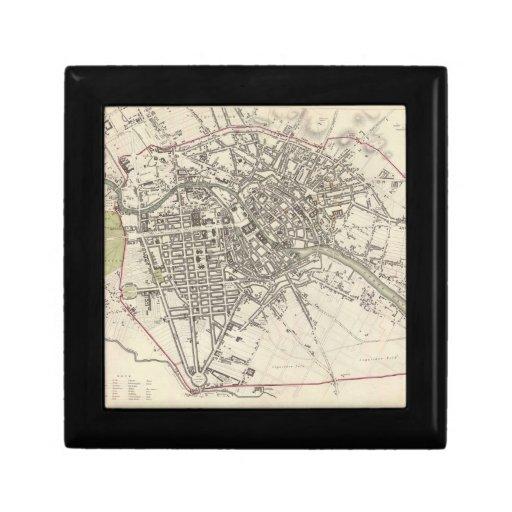 Mapa del vintage de Berlín (1833) Cajas De Recuerdo