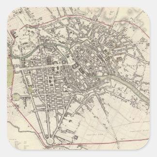 Mapa del vintage de Berlín (1833) Pegatina Cuadradas Personalizada