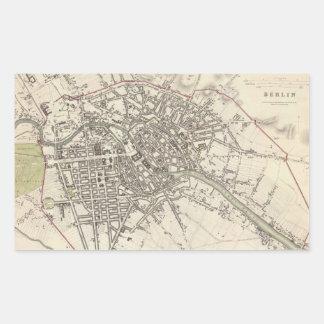 Mapa del vintage de Berlín (1833) Rectangular Pegatinas