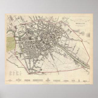 Mapa del vintage de Berlín (1833) Póster