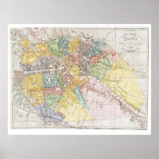 Mapa del vintage de Berlín (1846) Poster