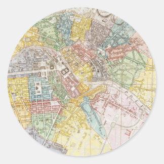 Mapa del vintage de Berlín (1846) Pegatinas Redondas