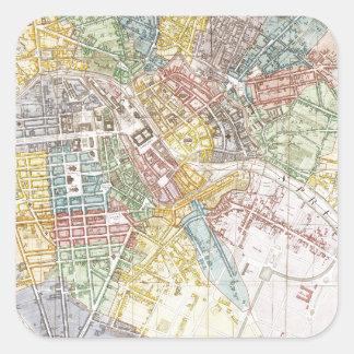 Mapa del vintage de Berlín (1846) Calcomanias Cuadradas