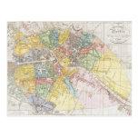 Mapa del vintage de Berlín (1846) Postal