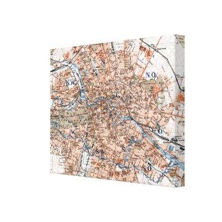 Mapa del vintage de Berlín Alemania (1894) Impresiones En Lienzo Estiradas