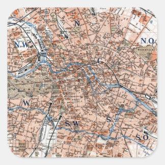 Mapa del vintage de Berlín Alemania (1894) Pegatinas Cuadradas