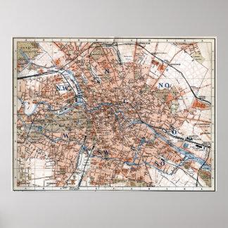 Mapa del vintage de Berlín Alemania (1894) Póster