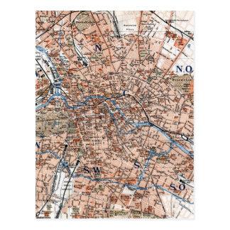 Mapa del vintage de Berlín Alemania (1894) Tarjetas Postales