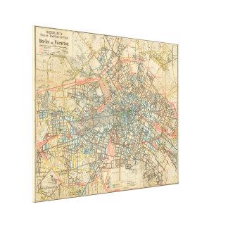 Mapa del vintage de Berlín Alemania (1904) Impresiones En Lona Estiradas
