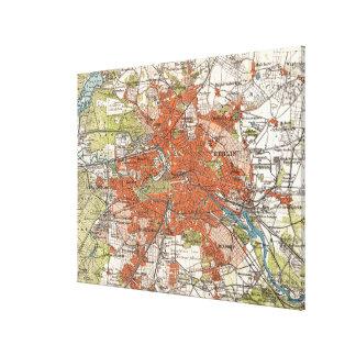 Mapa del vintage de Berlín Alemania (1905) Lona Envuelta Para Galerias