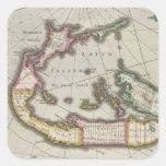 Mapa del vintage de Bermudas (1638) Pegatina Cuadrada