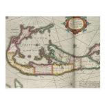 Mapa del vintage de Bermudas (1638) Postal