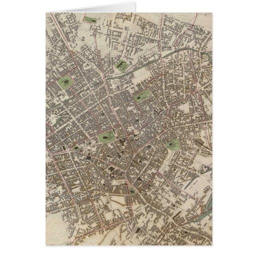 Mapa del vintage de Birmingham Inglaterra (1839) Felicitacion