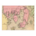 Mapa del vintage de Boothbay Maine (1894) Tarjetas Postales