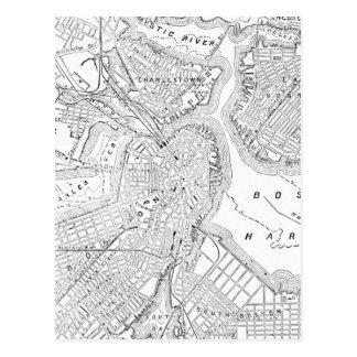 Mapa del vintage de Boston (1878) Postal