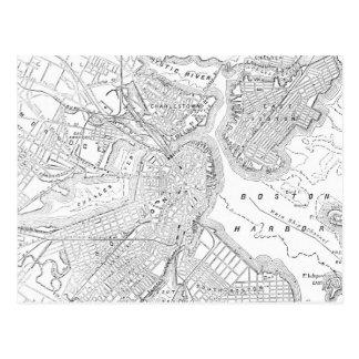 Mapa del vintage de Boston (1878) Postales