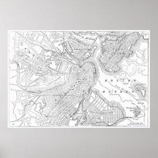 Mapa del vintage de Boston (1878) Póster
