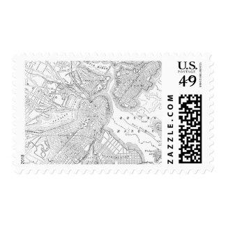Mapa del vintage de Boston (1878) Timbres Postales