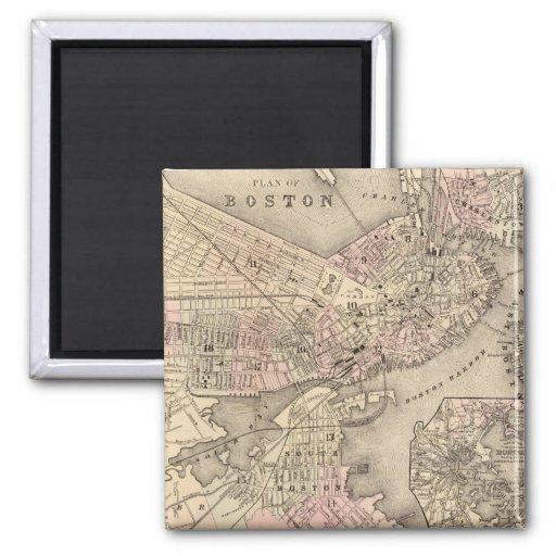 Mapa del vintage de Boston (1880) Imán Cuadrado