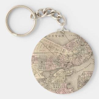 Mapa del vintage de Boston (1880) Llavero Redondo Tipo Pin