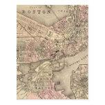 Mapa del vintage de Boston (1880) Postal