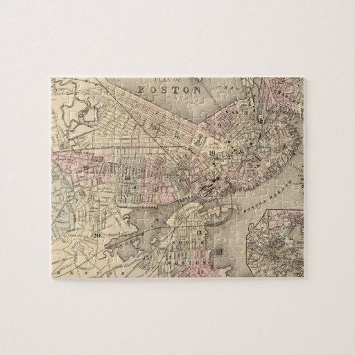 Mapa del vintage de Boston (1880) Rompecabeza Con Fotos