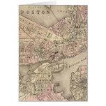 Mapa del vintage de Boston (1880) Tarjeta De Felicitación