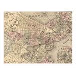 Mapa del vintage de Boston (1880) Tarjeta Postal