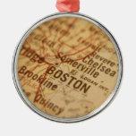 Mapa del vintage de BOSTON Adornos