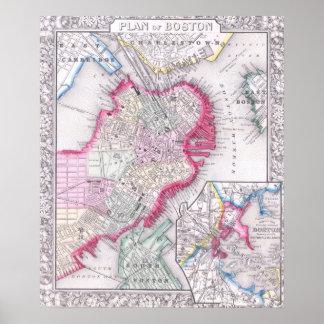 Mapa del vintage de Boston céntrica (1864) Póster
