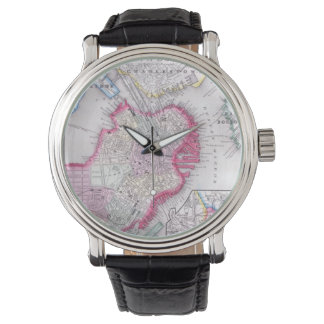 Mapa del vintage de Boston céntrica (1864) Reloj De Mano