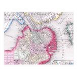 Mapa del vintage de Boston céntrica (1864) Tarjetas Postales