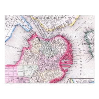 Mapa del vintage de Boston céntrica (1864) Tarjeta Postal