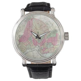 Mapa del vintage de Brooklyn (1868) Reloj