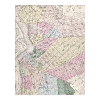 Mapa del vintage de Brooklyn (1873) Plantillas De Membrete