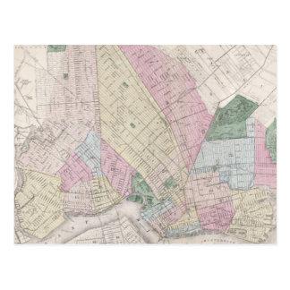 Mapa del vintage de Brooklyn (1873) Postal