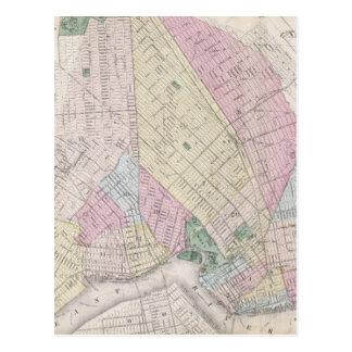 Mapa del vintage de Brooklyn (1873) Postales