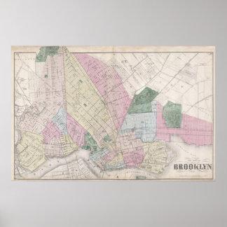 Mapa del vintage de Brooklyn (1873) Póster