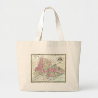 Mapa del vintage de Brookyln (1868) Bolsa Tela Grande
