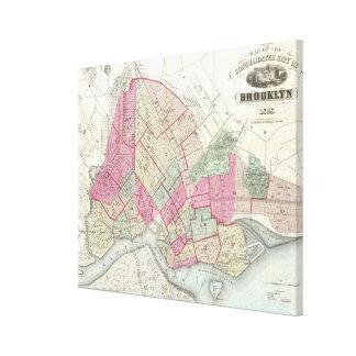 Mapa del vintage de Brookyln (1868) Lona Envuelta Para Galerias