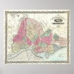 Mapa del vintage de Brookyln (1868) Posters