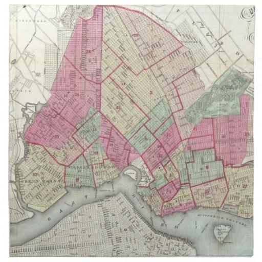 Mapa del vintage de Brookyln (1868) Servilletas