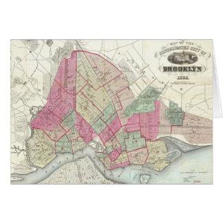 Mapa del vintage de Brookyln (1868) Felicitaciones