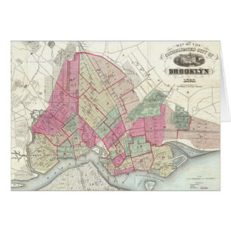 Mapa del vintage de Brookyln (1868) Tarjeta De Felicitación