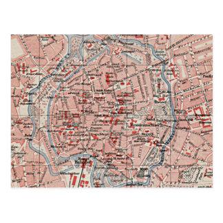 Mapa del vintage de Brunswick Alemania (1905) Tarjeta Postal
