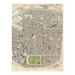 Mapa del vintage de Bruselas (1837) Postales
