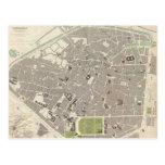 Mapa del vintage de Bruselas (1837) Tarjetas Postales